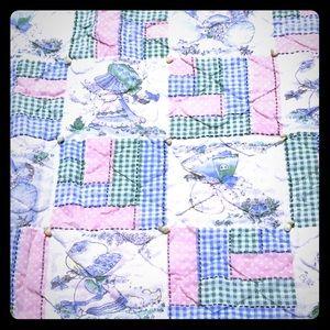 Baby quilt and 3 receiving blanket bundle girl